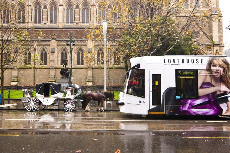 Chariot de tram et de cheval ensemble à Melbourne images libres de droits