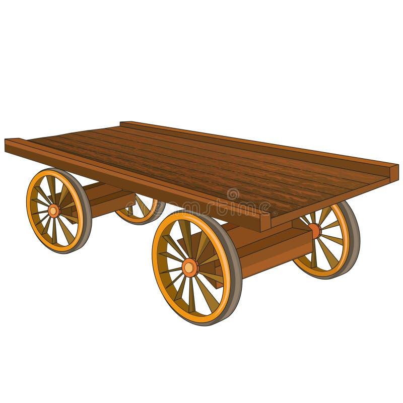 Chariot en bois d'isolement sur le fond blanc illustration stock
