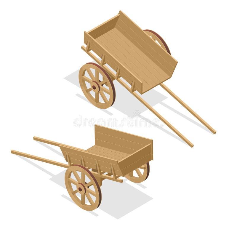 Chariot en bois de vintage isométrique Illustration plate du vecteur 3d d'isolement sur le blanc illustration stock