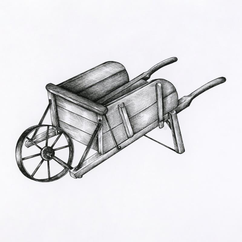Chariot en bois tiré par la main d'isolement illustration libre de droits