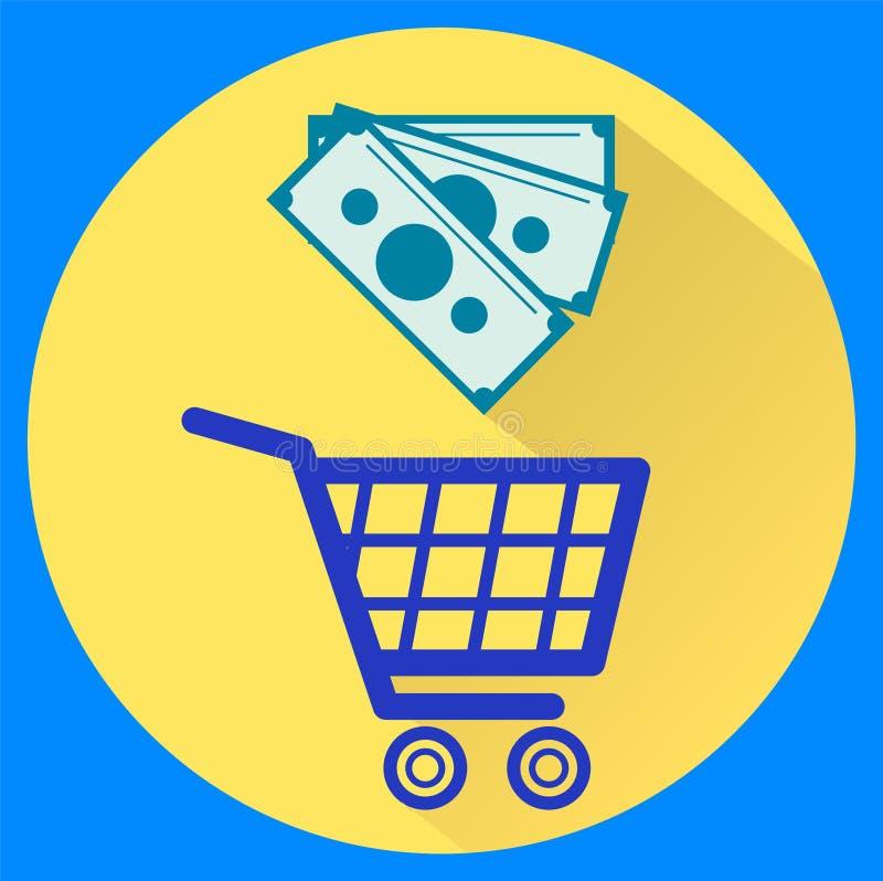 Chariot et argent Style plat d'isolement d'icônes illustration libre de droits