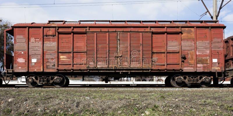 Chariot ferroviaire de fret, vieux chariot de cargaison image libre de droits