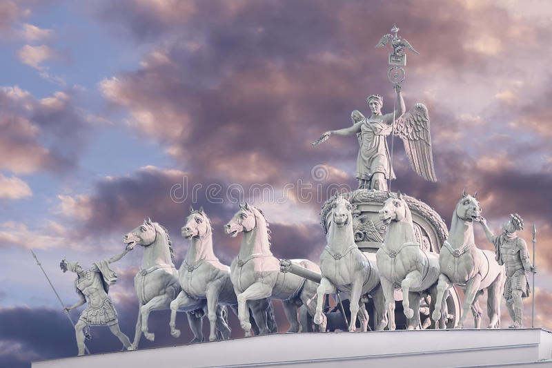 Chariot of Glory on the arch of the General Staff in St. Petersburg royalty free stock photography