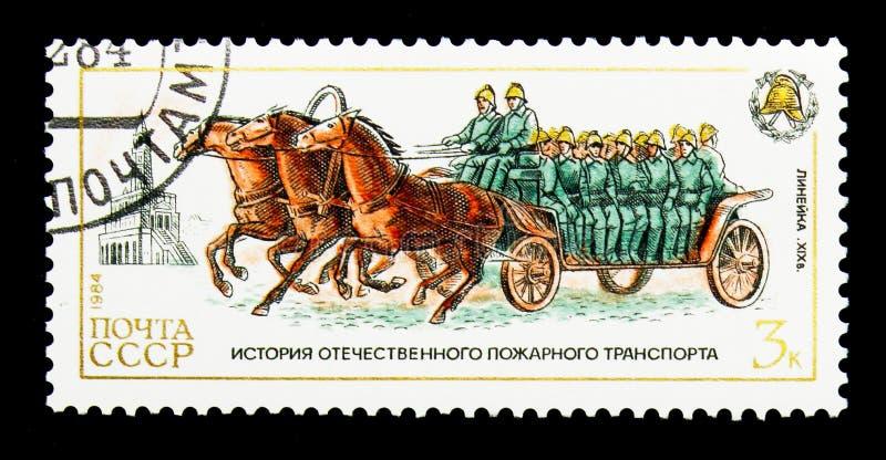 Chariot hippomobile d'équipage, 19ème siècle, histoire de Se de pompes à incendie image stock