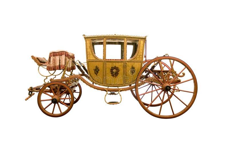 Chariot hippomobile de vintage d'isolement sur le fond blanc images stock