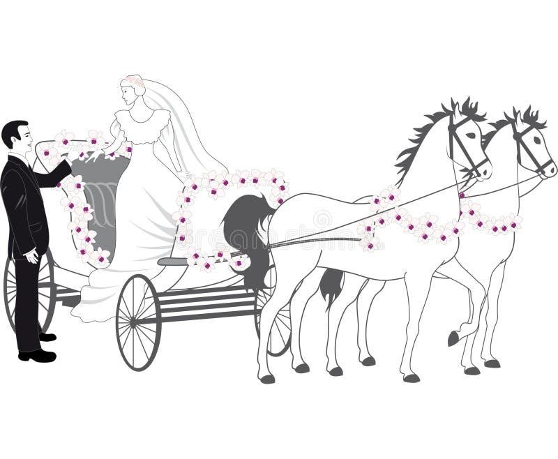 Chariot mit Jungvermählten lizenzfreie abbildung