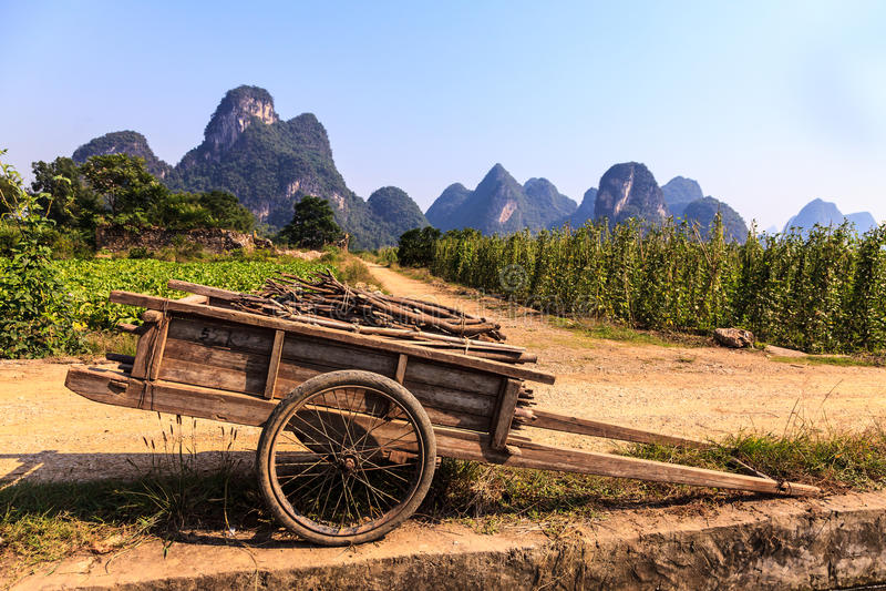Chariot mit Zweigen in einer Kalksteintallandschaft stockfoto