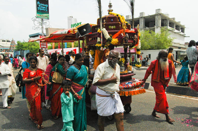 Chariot procession, Thaipusam in Penang stock photo