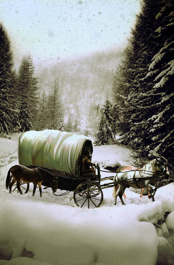 Chariot sous la neige illustration stock
