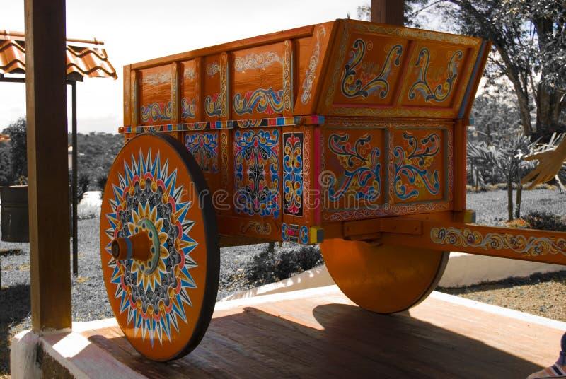 Chariot traditionnel de BOEUF désaturé images stock
