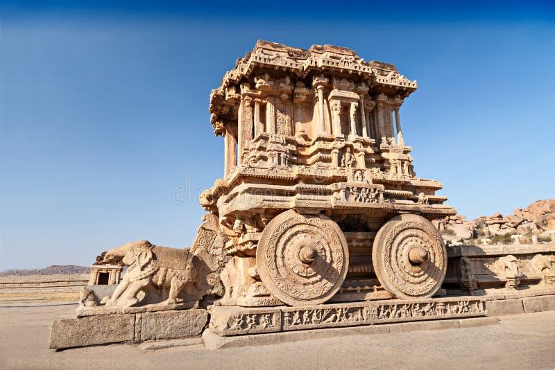 Chariot and Vittala temple. At Hampi, India royalty free stock image