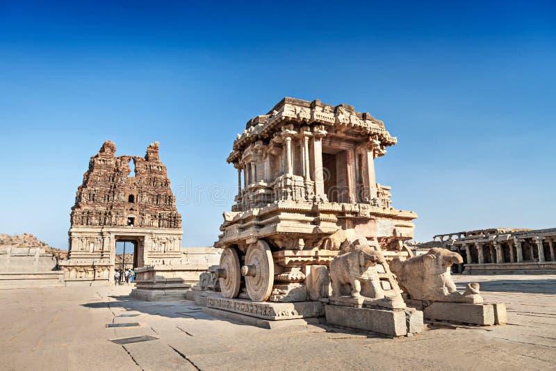 Chariot and Vittala temple. At Hampi, India stock photo