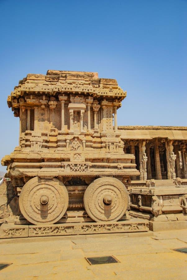Chariot and Vittala temple at Hampi, India. Chariot and Vittala temple at Hampi in India stock images
