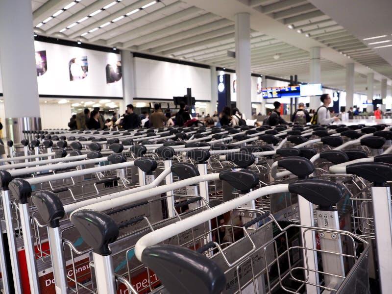 chariots de bagage sur le terminal d'aéroport photographie stock libre de droits