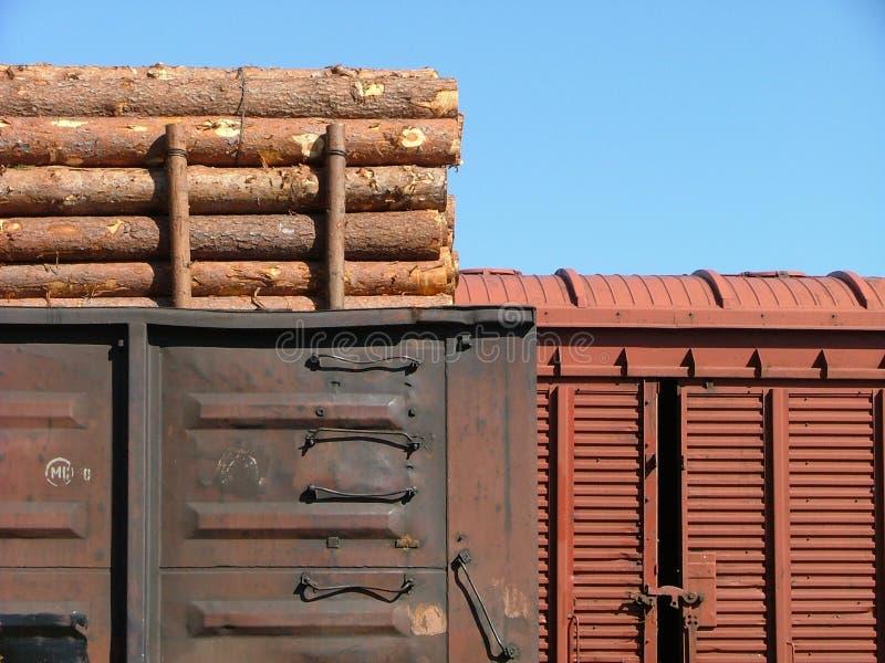Chariots de cargaison dans la station de train photographie stock