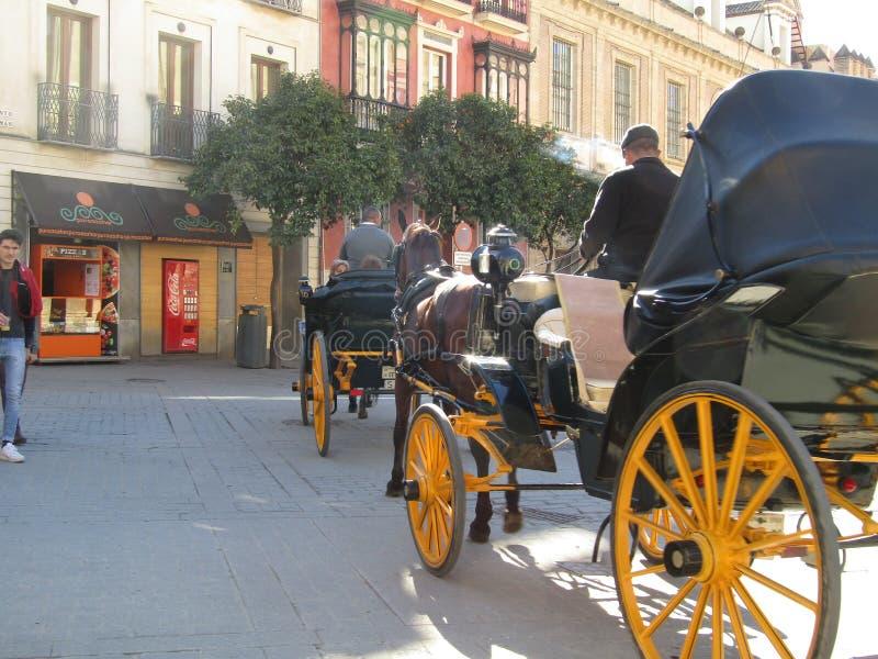 Chariots de cheval à Séville, Espagne image stock