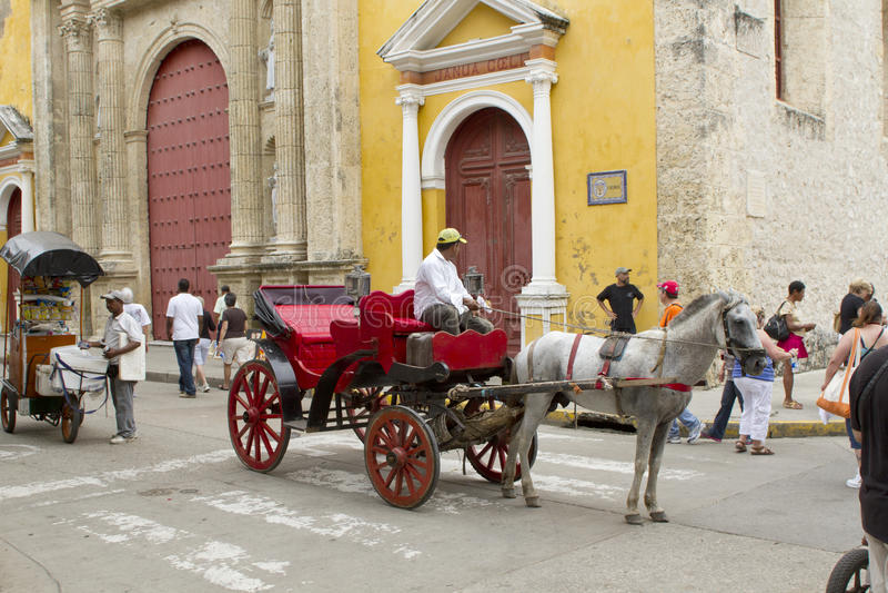 Chariots desenhados cavalo em Cartagena, Colômbia fotos de stock royalty free