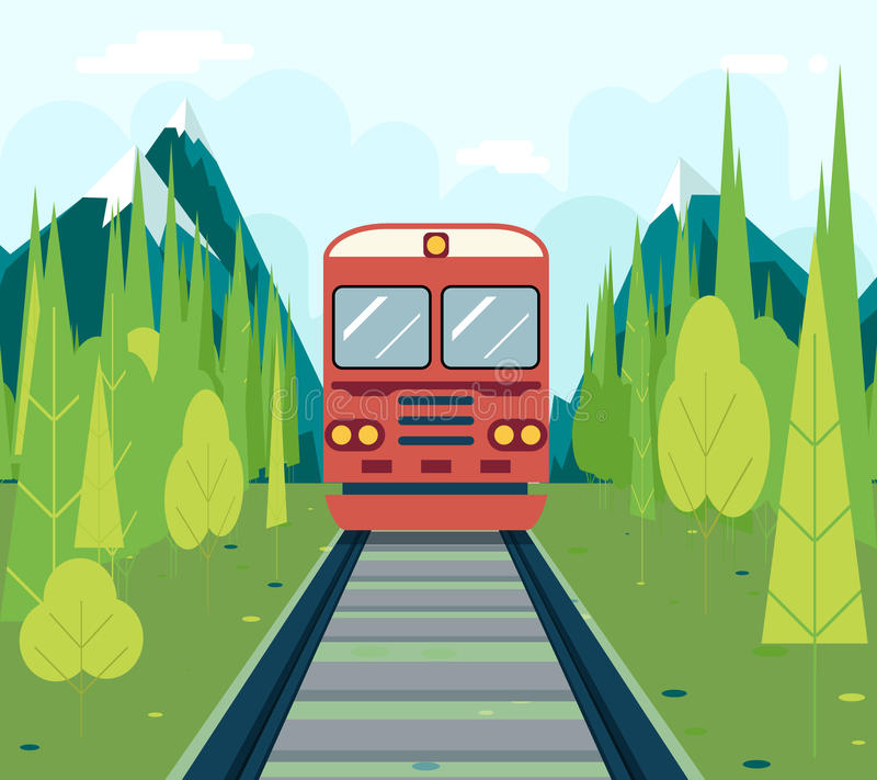 Chariots en symbole de Forest Tourism et de voyage illustration de vecteur