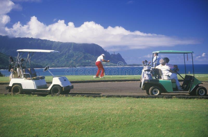 Chariots et chariots de golf photographie stock