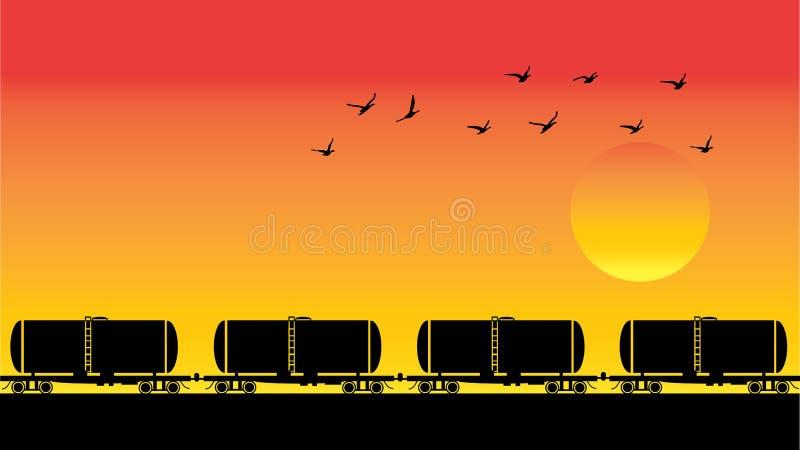 Chariots, oiseaux et coucher du soleil de réservoir illustration stock