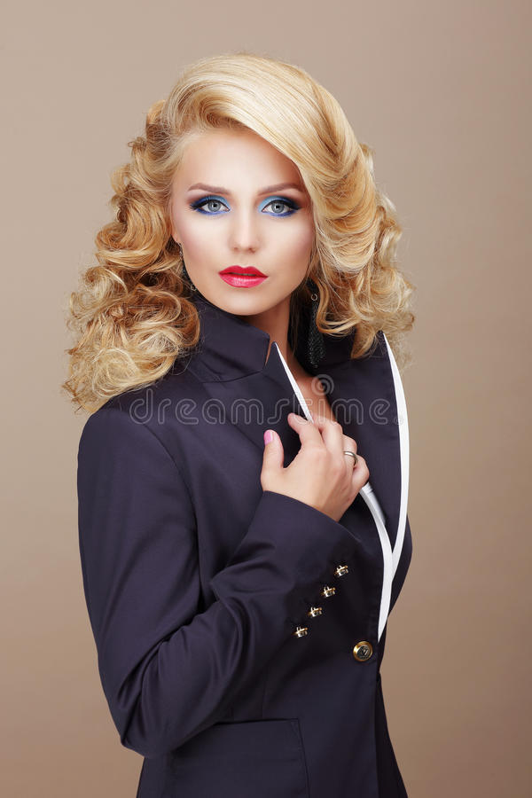 Charisma. Businesslike Woman Blonde in Blue Suit royalty free stock photo