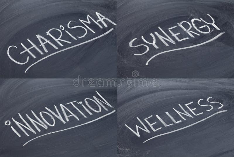 Charisma, Synergie, Innovation, Wellness lizenzfreie stockbilder