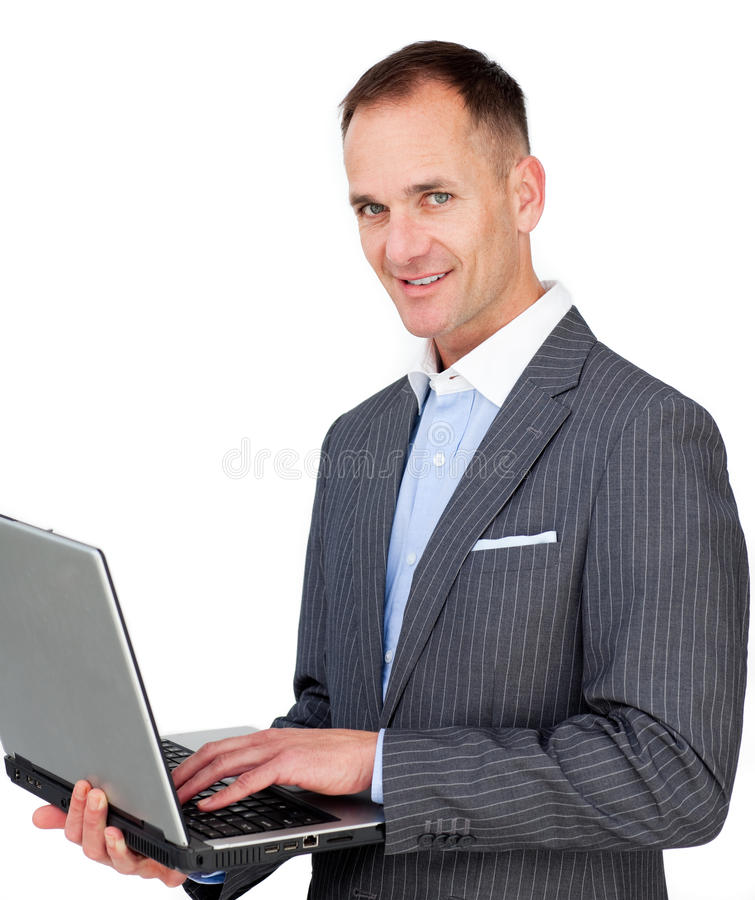 Download Charismatic Businessman Using A Laptop Stock Image - Image: 12617921