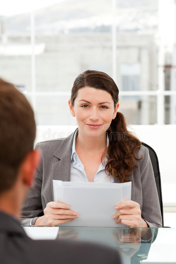 Download Charismatic Businesswoman During An Interview Stock Image - Image: 17278913