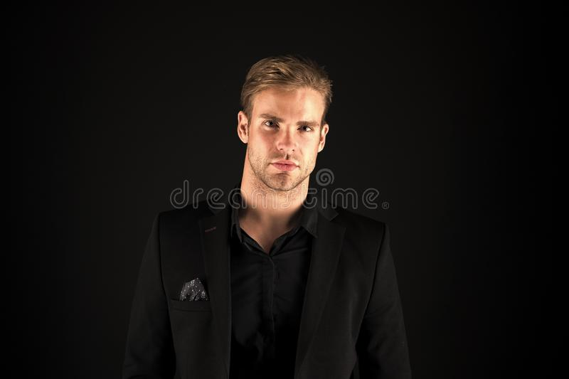 Charismatic and confident. Business couch or expert. Office worker. Man of business. Business man in formal wear stock image
