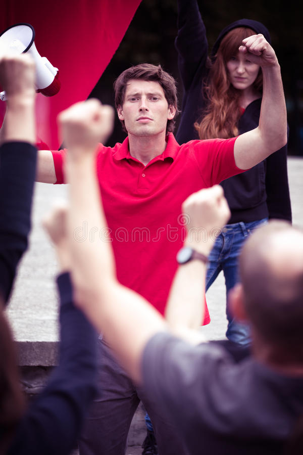 Charismatic leader of a political riot stock photo
