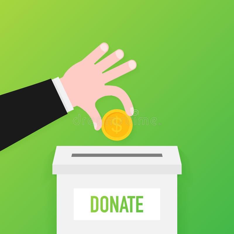 Charité, concept de donation Donnez l'argent avec des affaires de boîte, finances Illustration de vecteur illustration de vecteur