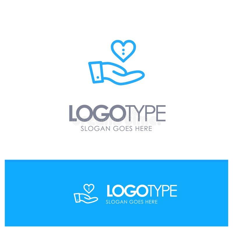 Charité, donation, donnant, main, logo bleu d'ensemble d'amour avec l'endroit pour le tagline illustration de vecteur