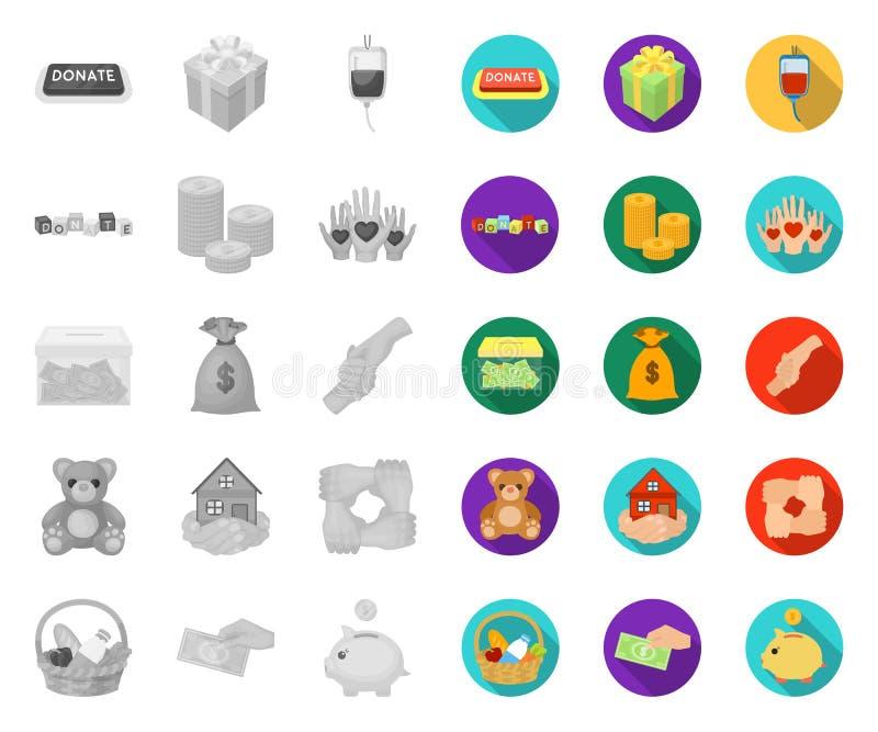 Charité et donation mono, icônes plates dans la collection réglée pour la conception Illustration de Web d'actions de symbole de  illustration libre de droits