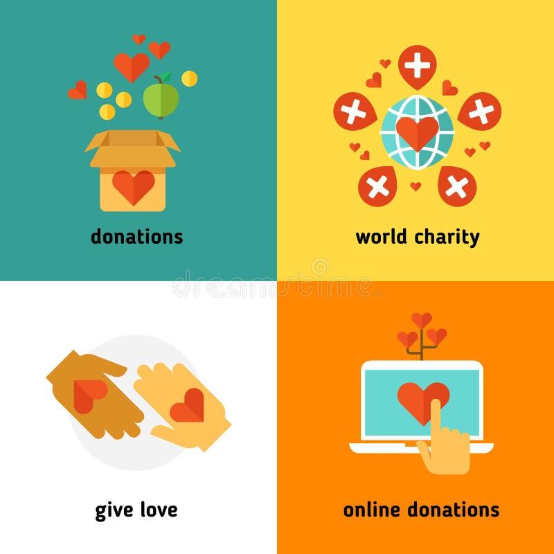 Charité et donation, services sociaux d'aide, travail volontaire, non concepts plats de vecteur d'organisation de bénéfice illustration de vecteur