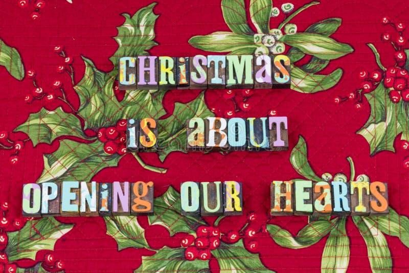 Charité ouverte de coeur donner la typographie de Noël photographie stock libre de droits