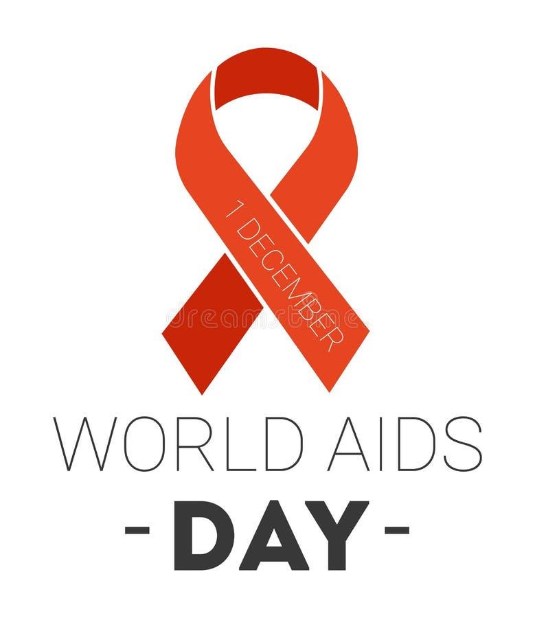 Charité rouge de ruban d'icône d'isolement par Journée mondiale contre le SIDA illustration de vecteur