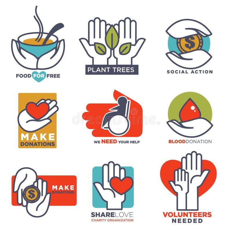 Charité, sang ou donation ou médical et offrir l'appui ou la conception de soin illustration libre de droits