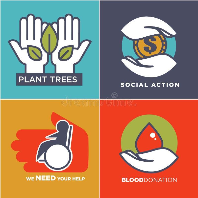 Charité, sang ou donation ou médical et offrir l'appui ou la conception de soin illustration stock