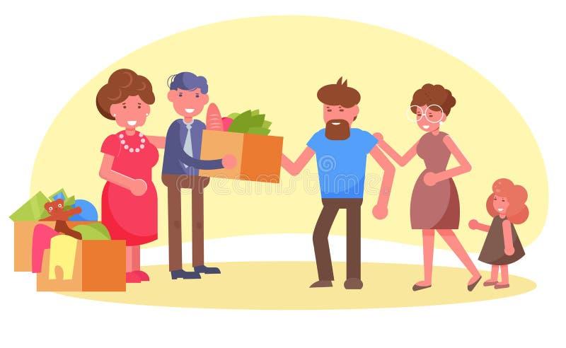 Charité, vecteur de donation cartoon Art d'isolement sur le fond blanc La famille riche plate aide pauvre illustration stock