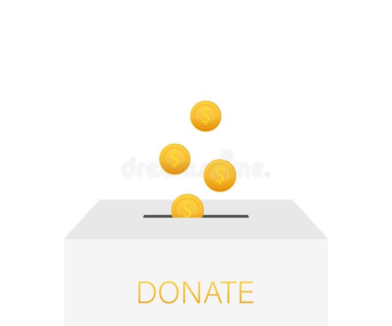 Charit?, concept de donation Donnez l'argent avec des affaires de bo?te, finances Illustration courante de vecteur illustration de vecteur