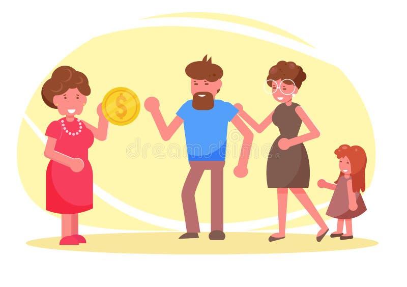 charit? Donations, argent, fonds pour le vecteur pauvre cartoon Art d'isolement illustration de vecteur
