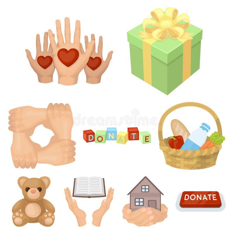 Charitable Foundation. Icons on helping people and donation. Charity and donation icon in set collection on cartoon style vector symbol stock web illustration royalty free illustration
