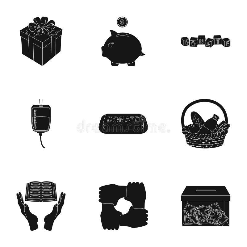 Charitable Foundation. Icons on helping people and donation.Charity and donation icon in set collection on black style. Vector symbol stock web illustration stock illustration