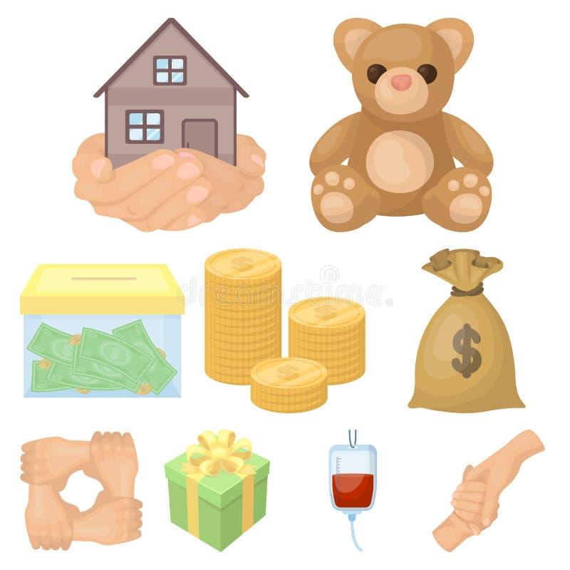 Charitable Foundation. Icons on helping people and donation.Charity and donation icon in set collection on cartoon style. Vector symbol stock web illustration royalty free illustration
