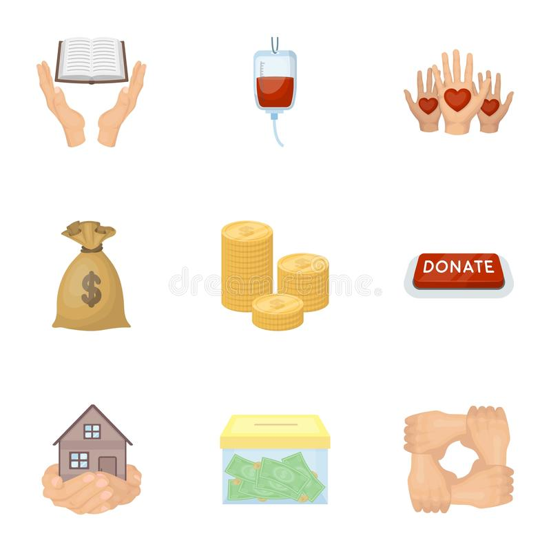 Charitable Foundation. Icons on helping people and donation.Charity and donation icon in set collection on cartoon style. Vector symbol stock web illustration vector illustration
