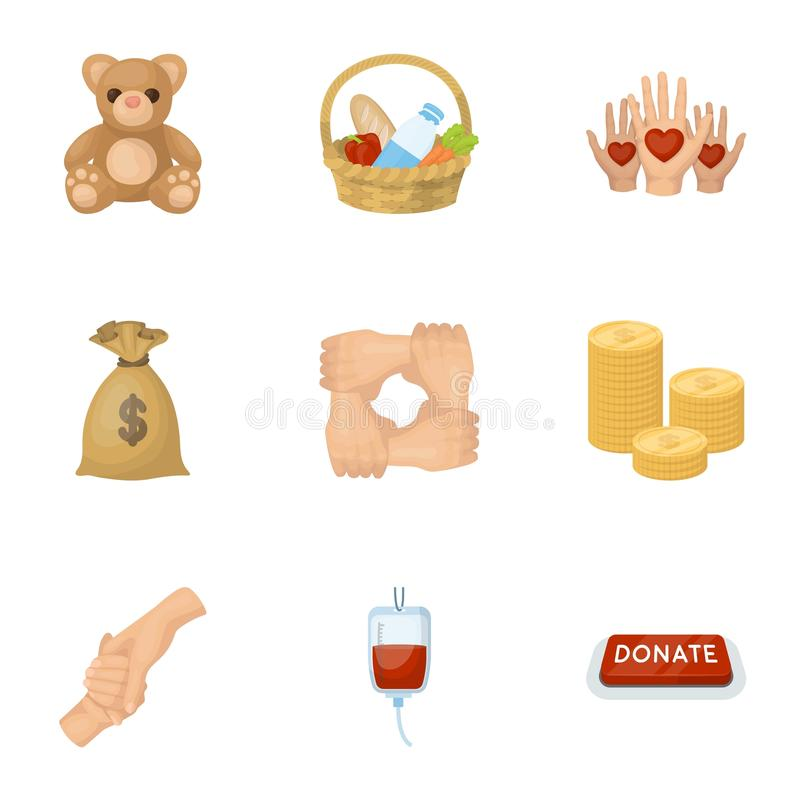 Charitable Foundation. Icons on helping people and donation.Charity and donation icon in set collection on cartoon style. Vector symbol stock web illustration stock illustration