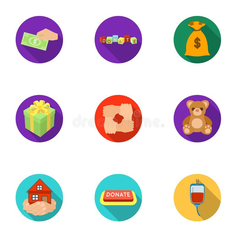 Charitable Foundation. Icons on helping people and donation.Charity and donation icon in set collection on flat style. Vector symbol stock web illustration vector illustration