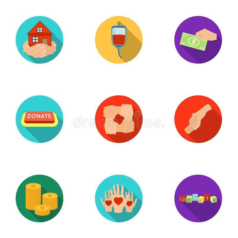 Charitable Foundation. Icons on helping people and donation.Charity and donation icon in set collection on flat style. Vector symbol stock web illustration stock illustration