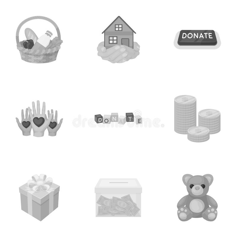 Charitable Foundation. Icons on helping people and donation.Charity and donation icon in set collection on monochrome. Style vector symbol stock illustration vector illustration