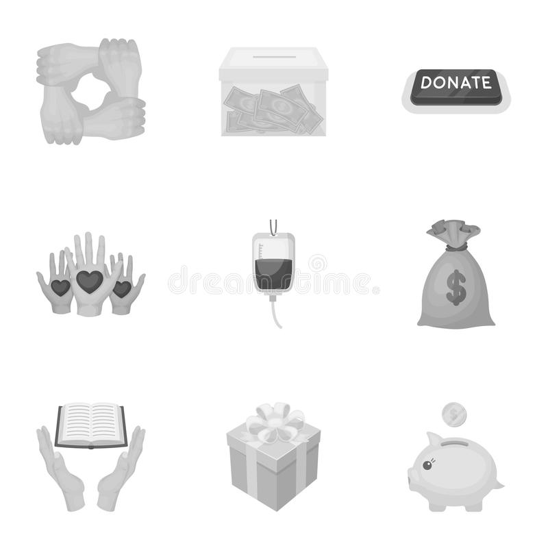 Charitable Foundation. Icons on helping people and donation.Charity and donation icon in set collection on monochrome. Style vector symbol stock web vector illustration